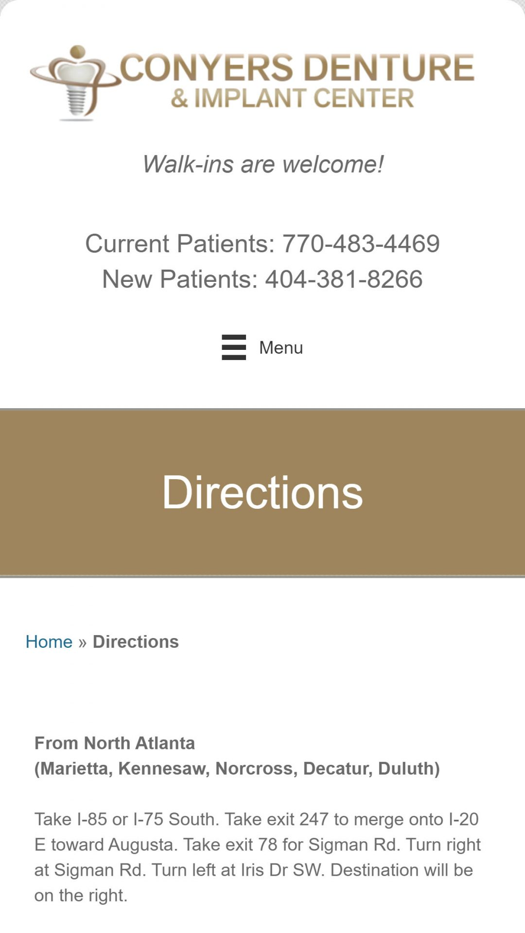 Conyers Denture & Implant Center Mobile Web Design
