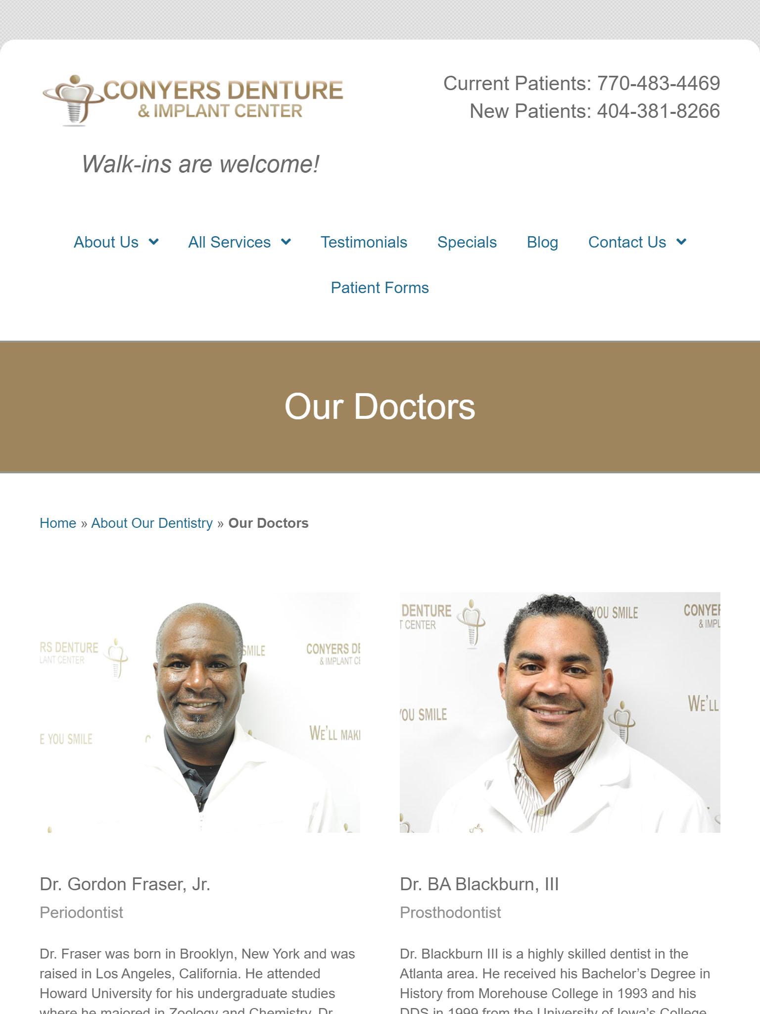 Conyers Denture & Implant Center Tablet Web Design