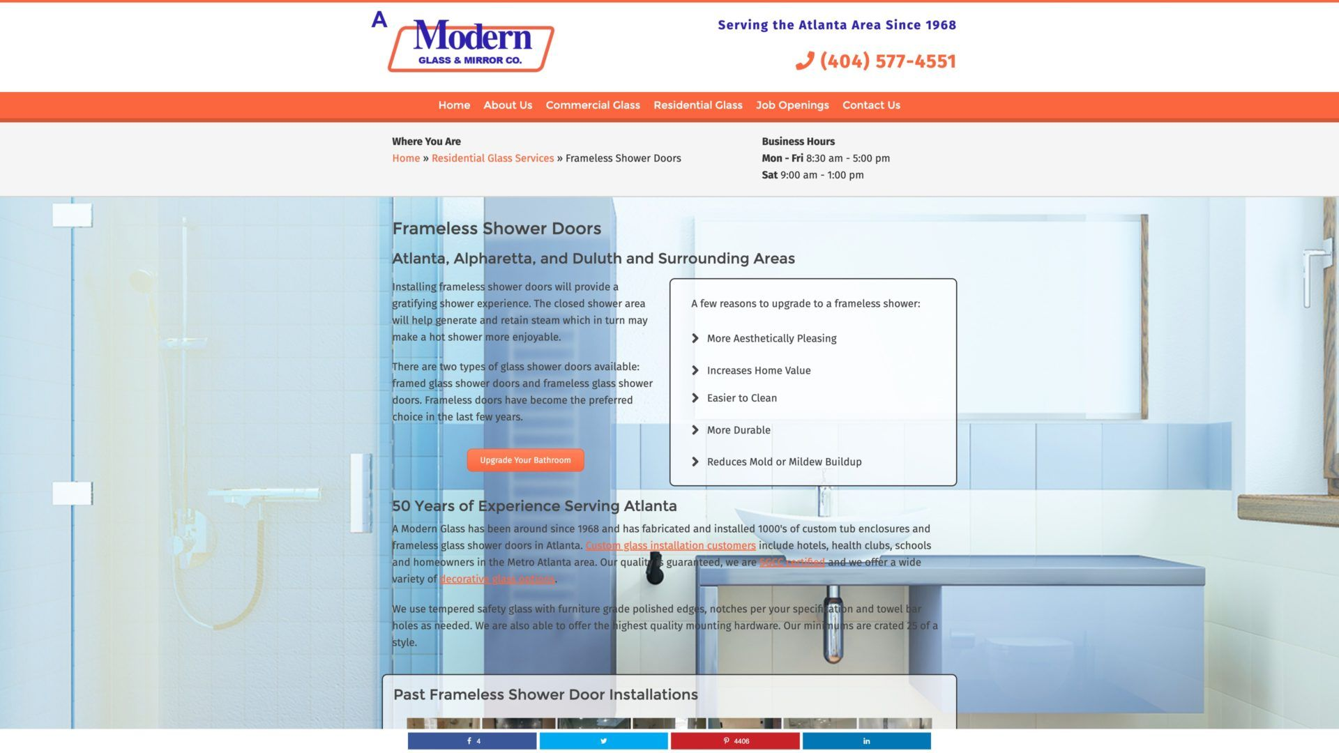 A Modern Glass (Atlanta, GA) Desktop Web Design