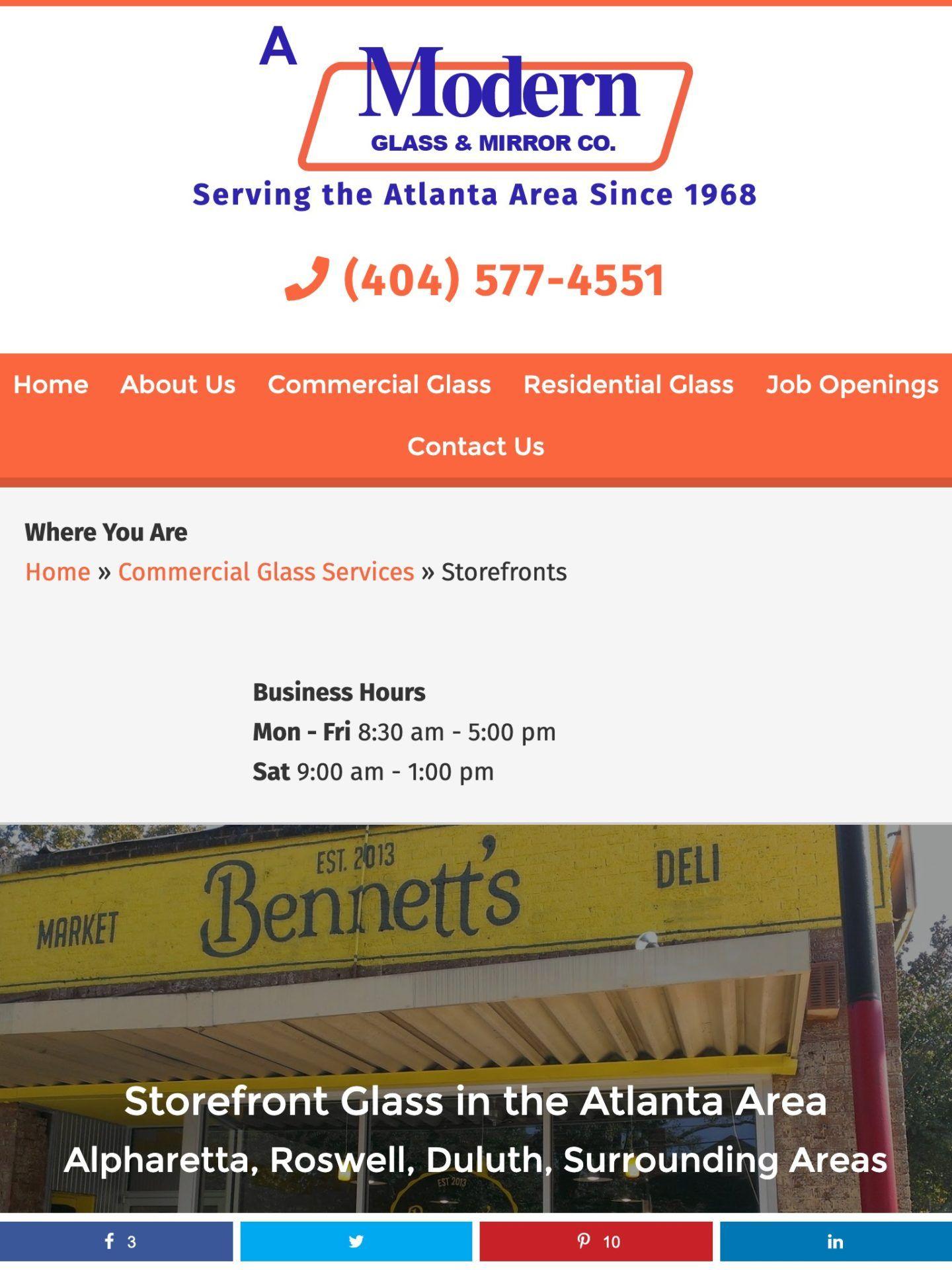 A Modern Glass (Atlanta, GA) Tablet Web Design