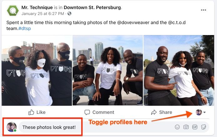 Comment as yourself and toggle profiles on Facebook company page