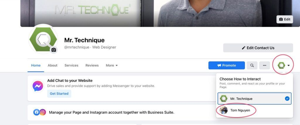 Select Personal Profile on Facebook Page